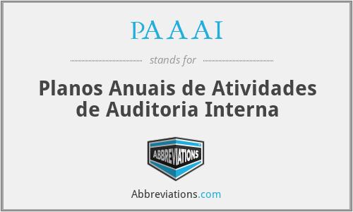 PAAAI - Planos Anuais de Atividades de Auditoria Interna