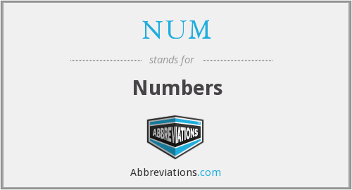 What does numbers stand for?