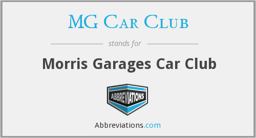 What does MG CAR CLUB stand for?