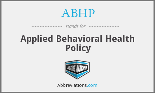 ABHP - Applied Behavioral Health Policy