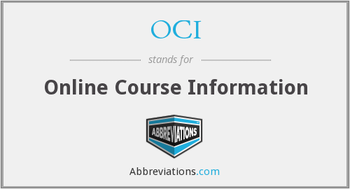 OCI - Online Course Information