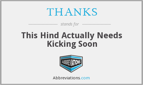THANKS - This Hind Actually Needs Kicking Soon
