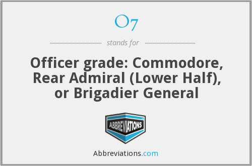 O7 - Officer grade: Commodore, Rear Admiral (Lower Half), or Brigadier General