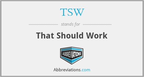 TSW - That Should Work