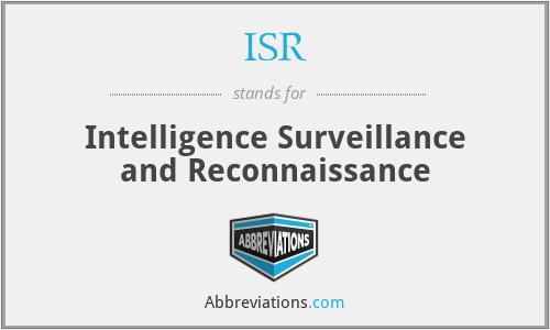 ISR - Intelligence Surveillance and Reconnaissance