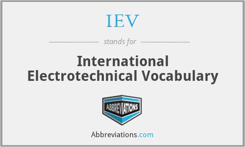 IEV - International Electrotechnical Vocabulary