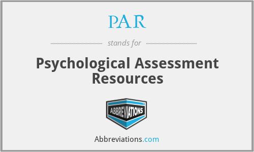 PAR - Psychological Assessment Resources