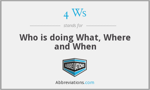 4 Ws - Who is doing What, Where and When