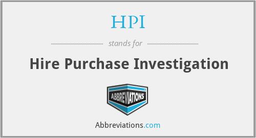HPI - Hire Purchase Investigation