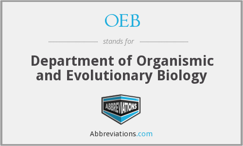 OEB - Department of Organismic and Evolutionary Biology