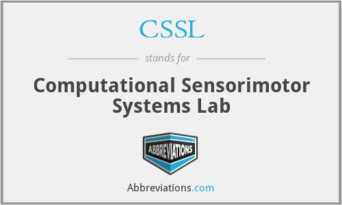 CSSL - Computational Sensorimotor Systems Lab
