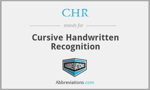 CHR - Cursive Handwritten Recognition