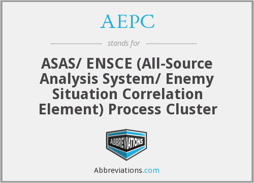 AEPC - ASAS/ ENSCE (All-Source Analysis System/ Enemy Situation Correlation Element) Process Cluster