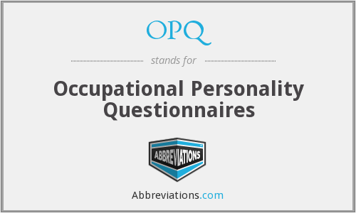 OPQ - Occupational Personality Questionnaires