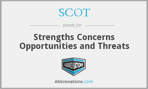 SCOT - Strengths Concerns Opportunities and Threats