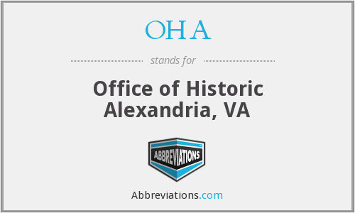 OHA - Office of Historic Alexandria, VA