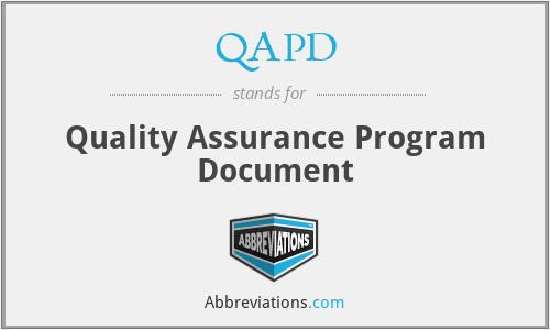 QAPD - Quality Assurance Program Document