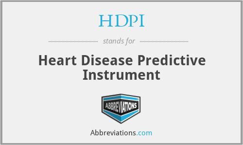 HDPI - Heart Disease Predictive Instrument