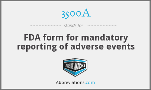 FDA form for mandatory reporting of adverse events