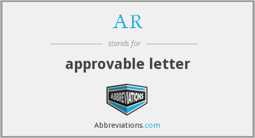 AR - approvable letter
