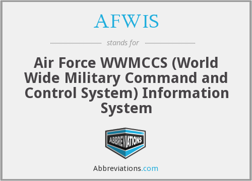 AFWIS - Air Force WWMCCS (World Wide Military Command and Control System) Information System