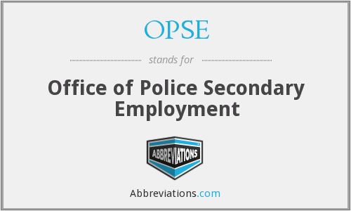 OPSE - Office of Police Secondary Employment