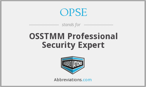 OPSE - OSSTMM Professional Security Expert