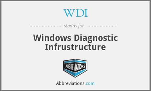 WDI - Windows Diagnostic Infrustructure