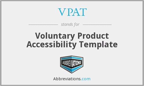 VPAT - Voluntary Product Accessibility Template