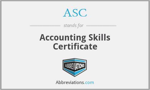 ASC - Accounting Skills Certificate