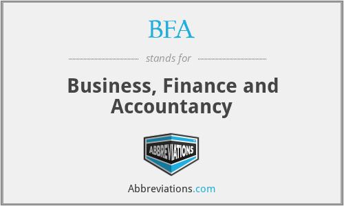BFA - Business, Finance and Accountancy
