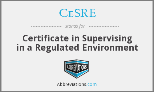 CeSRE - Certificate in Supervising in a Regulated Environment