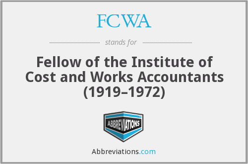 What does FCWA stand for?