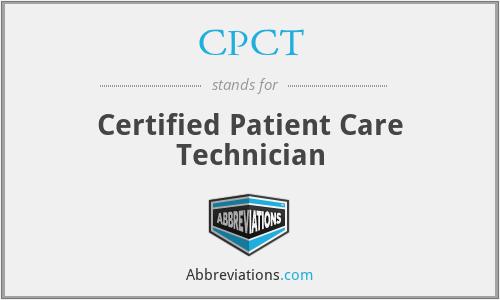 CPCT - Certified Patient Care Technician