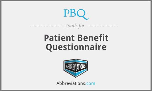 PBQ - Patient Benefit Questionnaire