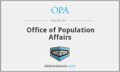 OPA - Office of Population Affairs