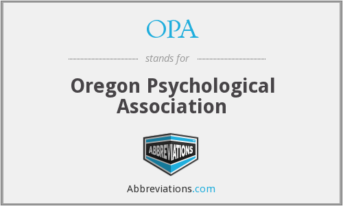 OPA - Oregon Psychological Association