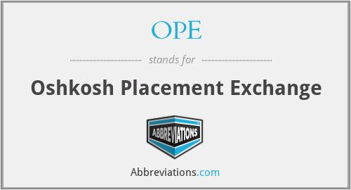 OPE - Oshkosh Placement Exchange