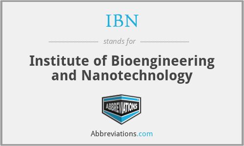 IBN - Institute of Bioengineering and Nanotechnology