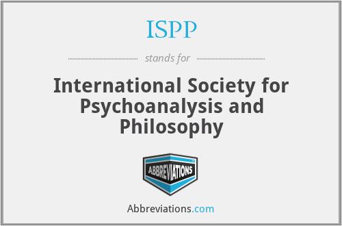 ISPP - International Society for Psychoanalysis and Philosophy