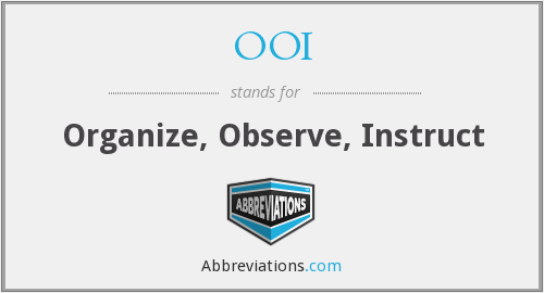 OOI - Organize, Observe, Instruct