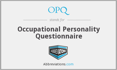 OPQ - Occupational Personality Questionnaire