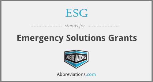 ESG - Emergency Solutions Grants