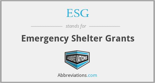 ESG - Emergency Shelter Grants