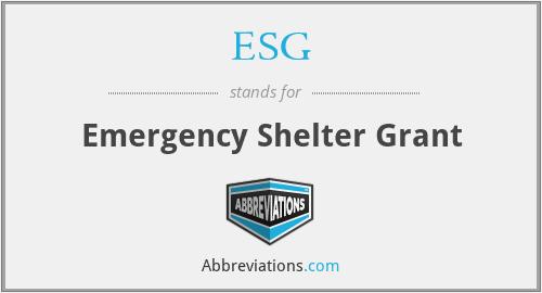 ESG - Emergency Shelter Grant