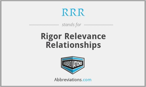 RRR - Rigor Relevance Relationships