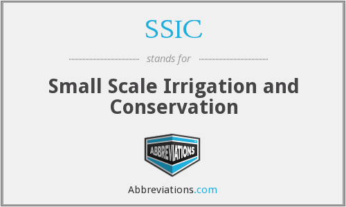 SSIC - Small Scale Irrigation and Conservation