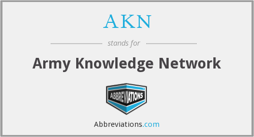 AKN - Army Knowledge Network