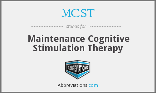 MCST - Maintenance Cognitive Stimulation Therapy