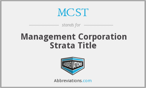MCST - Management Corporation Strata Title